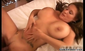 Busty brunette whore gets her cunt
