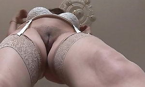 Super matured brunette with huge boobs and hairy fur pie strips
