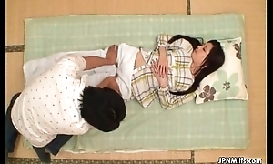 Cute Japanese milf gets a sensual