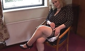 Huge boobs mature laddie in screw-up and stockings