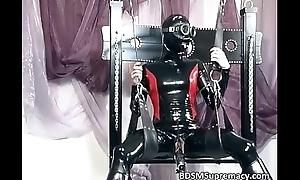 Nasty slut on every side latex cloth rub-down her