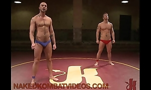 Muscle gays wrestling and anal fucking and gangbanging atop mats
