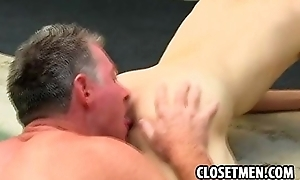 Sexy old vs young with gray bear plus twink