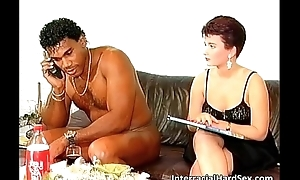 Cute redhead MILF suck big black dick