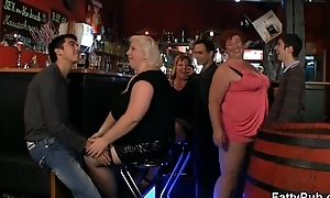 Crazy plump chicks have fun relative to the bar