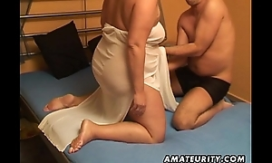 Chubby amateur wife sucks and copulates with cum up indiscretion