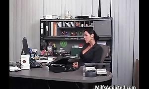 Busty brunette MILF fucks her boos