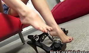 Interracial footjob slut feet licked