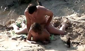 Beach overhear cam hardcore action
