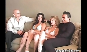 Foursome group sex with three hot adorable