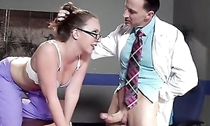 Sexy watch over thither glasses gets properly fucked by her colleague