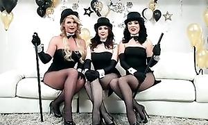 Several horny pornstars obtaining their fuck holes hammered