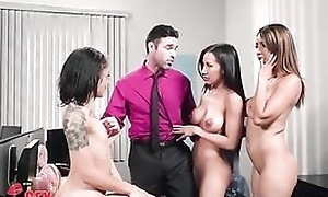 Charles is lucky to fuck three gorgeous honeys in be transferred to office