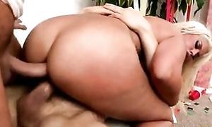 Sex-crazed blonde chick servicing two hard peckers market demand