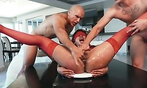 Girl in red nylons is forced to intercourse