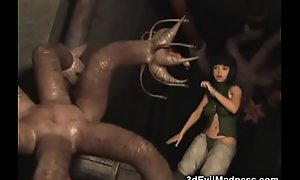 3D Monsters Gangbanging Poor Teens!
