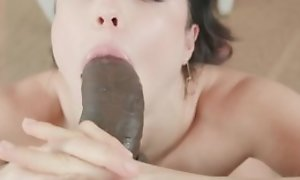 Teen has entertainment thither big black cock in hawt blowjob and hardcore sexual congress acts