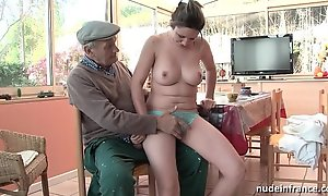 Nice titted french blackness team-fucked unconnected with papy voyeur