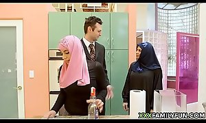 Virgin Hijab Girl Fucked Hard by White Step-Dad