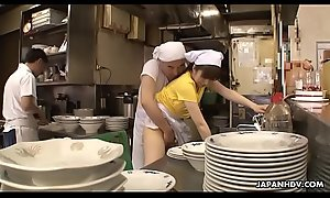 Japanese waitress Mimi Asuka acquires finger drilled at hand the restaurant