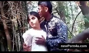 Most Beautiful and cute Indian girl kiss and boob driven by bf at jungle at newPorn4uxxx video