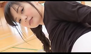 Manami Yamaguchi Yoga pants  black with an increment of white legs,ass-fetish running with an increment of yoga image video solo
