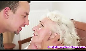 Bigtits granny likes gagging on chubby cock