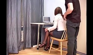 Secretary office sex in unplanned crotchless hosiery