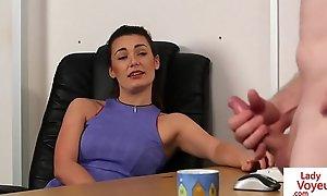 Election femdom instructs sub alongside jerk till cum