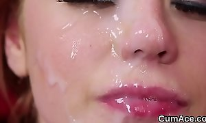 Wicked sweetie gets cum shot on her face swallowing enclosing be passed on goo