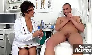 Gabina a full-grown uniform catholic CFNM exam plus handjob