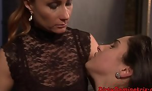 Lezdom mistress punishing her apologetic talents for seating play