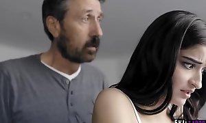 Spanked and Banged! Dad spanks his streetwalker sprog Emily Willis!