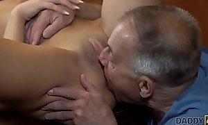 DADDY4K. Old man with boner penetrates attractive tolerant made-to-order table