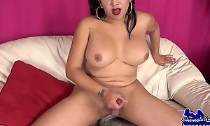 Latina shemale jerking her swollen ding-dong