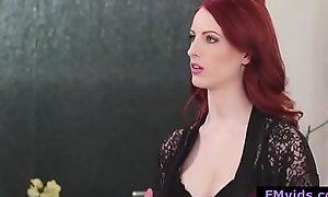 Sexy redhead babe jerking off horseshit