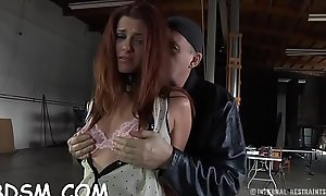 Cutie gets her mantle restrained and knockers clamped