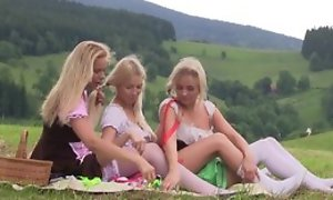 Nice first of a male effeminate experience between three teen girls having tons of fun pile up outdoor at one's fingertips picnic, ribbons pussies, using lovemaking toys, moaning from pleasure