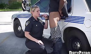 Busty police officers IR banged in the middle be advisable for the street
