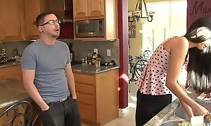 Hawt MILF craving for will not hear of Stepson's porn video  dick