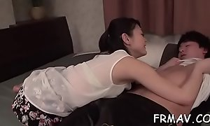 Appealing asian in upskirt acquires uncouth jamming