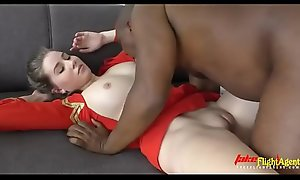 Beautiful Stewardess nearby Takes Big Sensual Black Cock nearby her Stingy Pink Pussy