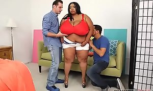 Huge Tit Ebony BBW Cotton Candi Receives Double Teamed