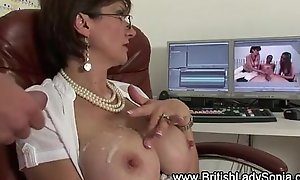 Horny mature Lady Sonia gets a cumshot