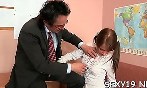 Young girl is being ravished hard by a indecorous aged stud