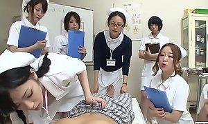 JAV nurses CFNM handjob irrumation demonstration Subtitled