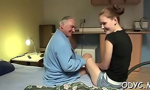 Breathtaking old and youthful fucking with sexy babe getting moneyed hard