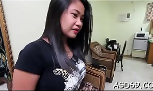 Cum-thirsty asian boon companion deepthroats and rides a hard dong