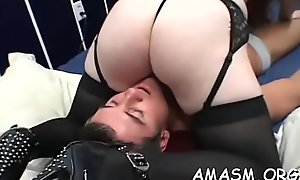 Sexually excited sweethearts sharing load of shit respecting female domination xxx