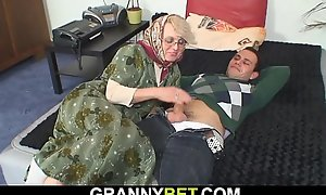 He fucks throw over 60 epoch old tow-haired granny neighbour